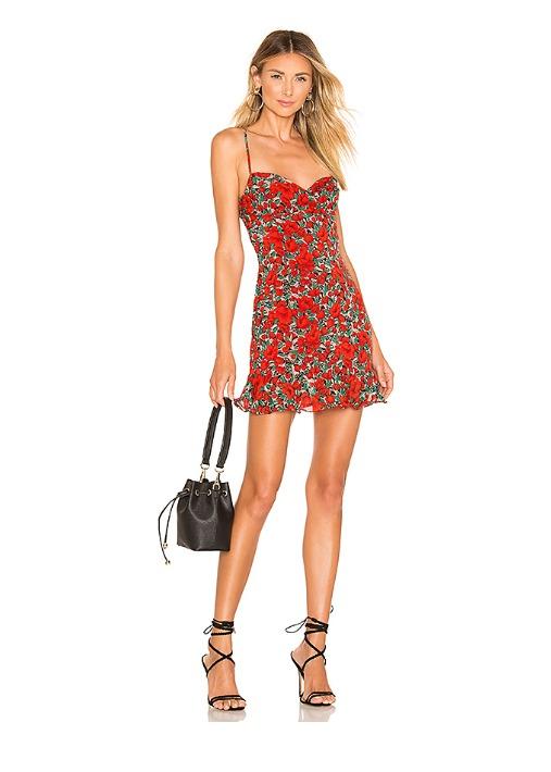 hermosaz rojo floral vestido