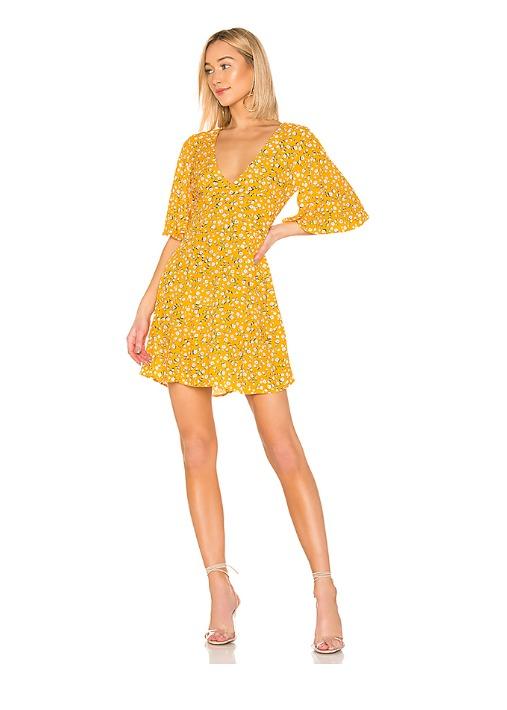 hermosaz vestido floral amarillo corto