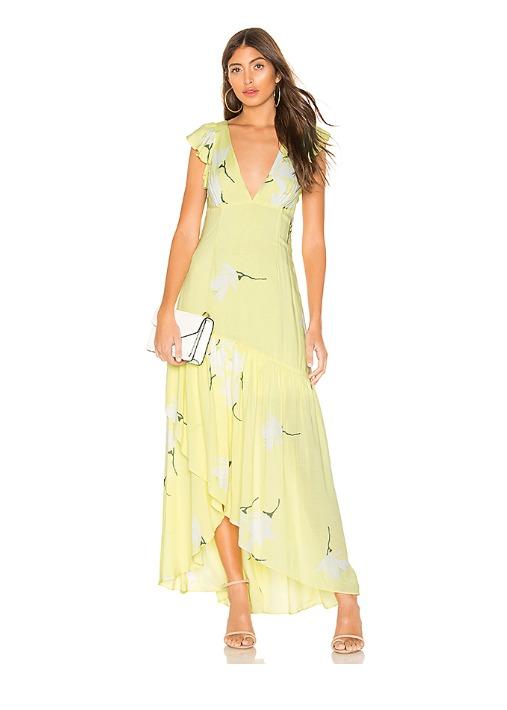 hermosaz vestido largo floral amarillo