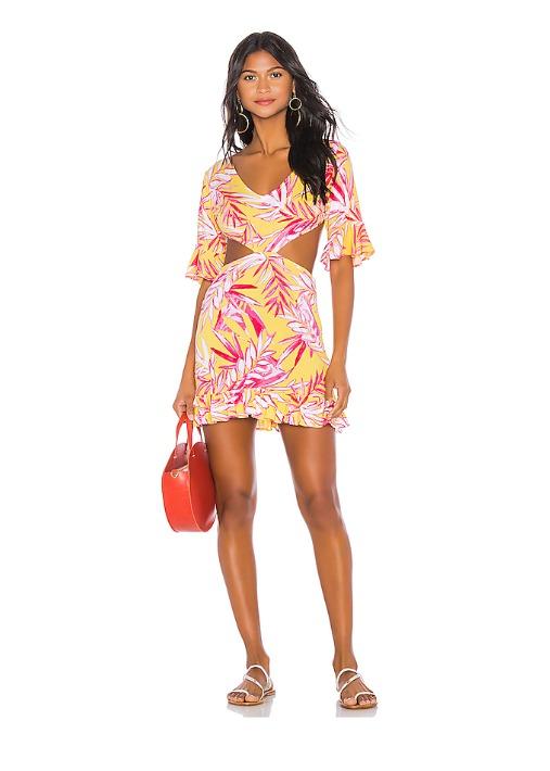hermosaz vestido corto rojo y amarillo